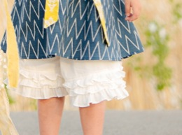 "Persnickety ""Sail Away"" Cream Triple Ruffle Shorts<br>Sizes 4-10"