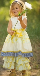 "Persnickety ""Sail Away"" Yellow & Ivory Picnic Dress<br>Sizes 2-8"