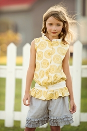 "Persnickety ""Sail Away"" Yellow Ivy Button Up Fancy Top"