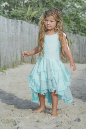 "Pixie Girl Aqua & Grey ""Pirouette"" Sweet Tie Shoulder Dress"