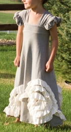 """Pixie Girl """"Grace"""" Grey and Ivory Long Dress """"PREORDER"""""""