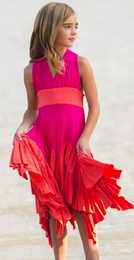 "Pixie Girl ""Windy Day"" Precious Orange & Fuscia Dress<br>Sizes 7 - 10"