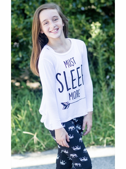 "PPLA Clothing White ""Must Sleep MORE"" Trendy Tee *FINAL SALE*"