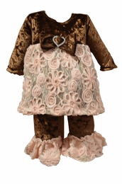 "Purrfect ""Mocha Mist"" Brown Crushed Velvet Two piece Swing Set *FINAL SALE*"