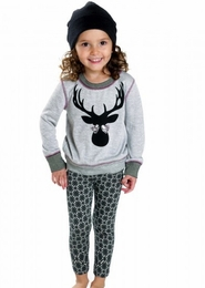 Rock & Clay Holiday Grey and Black Antler Top & Legging Two Piece Set