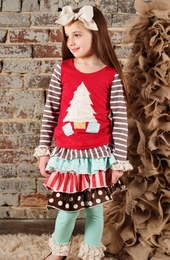Sado Hodge Podge Holiday Applique Mixed Print Knit Top *PREORDER*