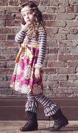 Sado Mosaic & Stripes Baby Doll Soft Knit Dress *PREORDER*