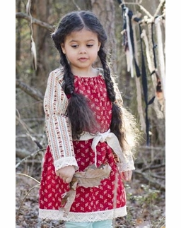 """Sado """"Old Time Heirloom"""" Red Peasant Dress *FINAL SALE BLOW OUT*"""