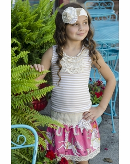 Sado Precious Knit Natural Stripe Crochet Ruffle Top *FINAL SALE BLOW OUT* SOLD OUT!