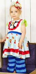 Servane Barrau Mixed Print Strawberry Dress w/Dot Bib