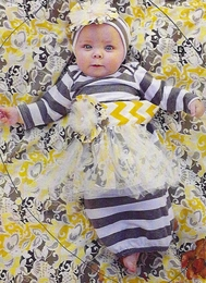 "She Bloom ""Paris"" Yellow & Gray Chevy Infant Gown"