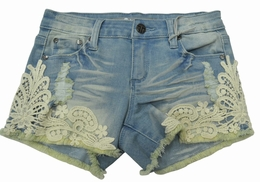 Tractor Light Indigo Lace Applique Denim Shorts SOLD OUT!