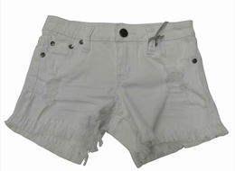 Tractor White Super Fray Trendy Jean Shorts