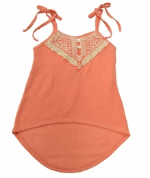 Tru Luv Soft Coral Hi Low Tank with Ties and Crochet Trim