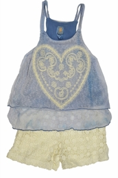 "Tru Luv Blue ""Love Child"" Crochet Swing Top <br>Sizes 4 - 14"