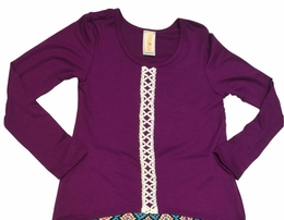 "Tru Luv Fall Fun Plum ""Bandits"" Swing Top"