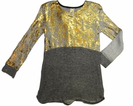 Tru Luv Grey Must Lux Grey and Gold Distressed Tunic *PREORDER*