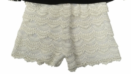 Tru Luv Tiered Ivory Lace Versatile Shorts
