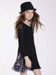Truly Me Ava Black Sweater Dress with Triangle Floral Skirt Inset