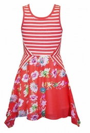Truly Me Deep Coral & Floral Spring Dress