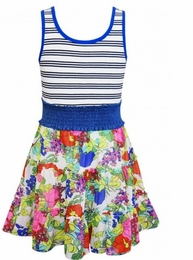 Truly Me Dress w/Stripe Bodice and Floral Skirt