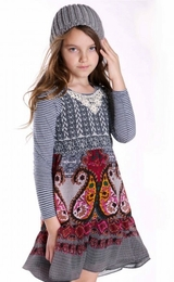 Truly Me Emma Mixed Media Dress w/Lace Applique *PREORDER*