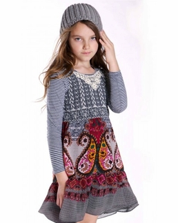 Truly Me Emma Mixed Media Dress w/Lace Yoke SOLD OUT!