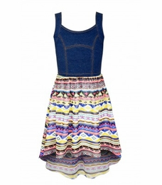 "Truly Me Navy & Print ""Peridot"" Knit Hi Lo Dress"