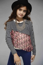 Truly Me Selena Floral & Stripe Top