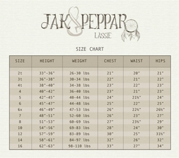 UPDATED: NEW!  JAK AND PEPPAR SIZE CHART
