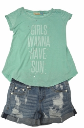 "Vintage Havana ""Girls Wanna Have Sun"" Adorable Tee"