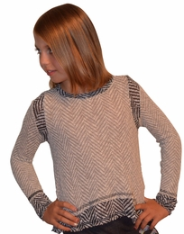 Vintage Havana Heather Grey Chevron Layered Soft Long Sleeve Top