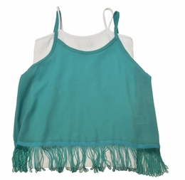 Vintage Havana Two Piece Mint Top w/V Fringe Back