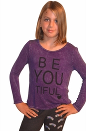 "Vintage Havana Purple ""Be-You-Tiful"" Mineral Wash Long Sleeve Tee"