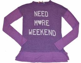 "Vintage Havana Purple ""Need More Weekend"" Long Sleeve Top w/Thumbholes"