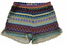 Vintage Havana Colorful Tribal Embroidered Trendy Shorts