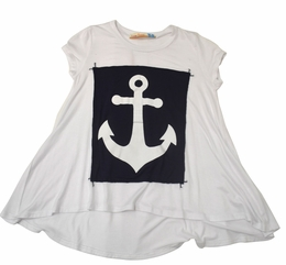 Vintage Havana White & Navy Anchor Patch Tee