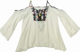 Vintage Havana White Open Shoulder Floral Spring Top