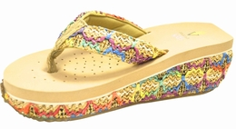 Volatile Girl Colorful Natural Wedge Comfy Flip Flops