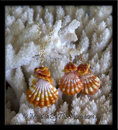 3 Piece Set Orange Tiger Stripe Sunrise Shells and Chips Necklace & Earrings in Gold