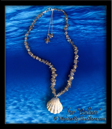 "Albino Blue Sunrise Shell on Sprectrolite Gemstones from Finland Necklace Custom for ""Colleen"""