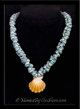Antique Aqua Shell & Hawaiian Sunrise Shell Lei Necklace