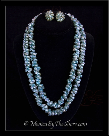 Antique Aqua Shell Lei Necklace & Copper Clip Earrings Set