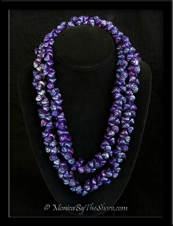 Antique Deep Purple Shell Lei Necklace