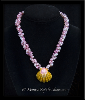 Antique Pink Shell Lei with Hawaiian Sunrise Shell Centerpiece