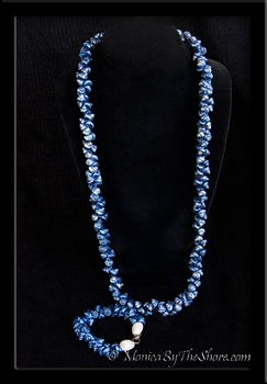 Antique Royal Blue Shell Lei Necklace & Bracelet Set