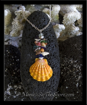 """Beach Candy"" Stack Hawaiian Sunrise Shell Medallion Pendant Necklace"