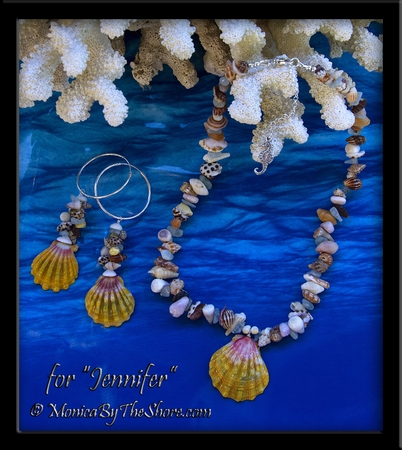 """""""Beach Candy"""" Sunrise Shell Necklace and """"Fantasy Shell"""" Hoop Earrings Set for """"Jennifer"""""""