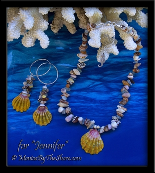 """Beach Candy"" Sunrise Shell Necklace and ""Fantasy Shell"" Hoop Earrings Set for ""Jennifer"""