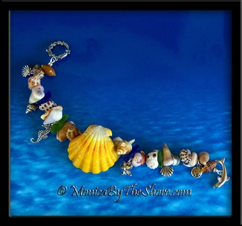 """Beach Candy"" Sunrise Shell, Seashells, Sea Glass and Silver Sea Life Charm Bracelet"